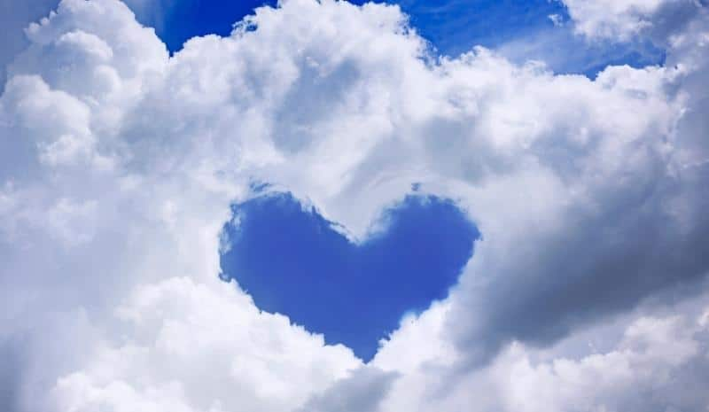heart shape in white clouds in the sky